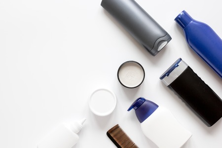 cosmetics for men in bottle on white background top view.