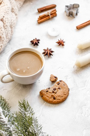 Christmas evening with cup of cocoa on white background close up Stock Photo