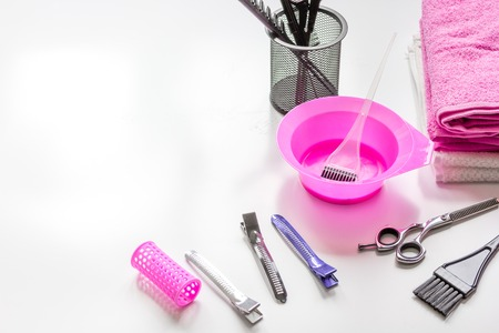 hairdresser working desk with tools close up Stock Photo