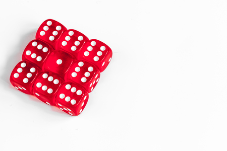 concept luck - dice gambling on white background.