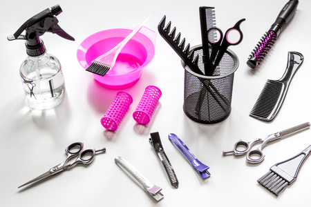 barber: hairdresser working desk with tools close up Stock Photo