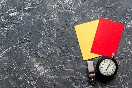 whitespace: red and yellow cards on dark background top view mock up
