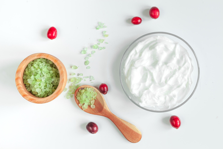organic cosmetics with extracts of berries on white background top view Stock Photo