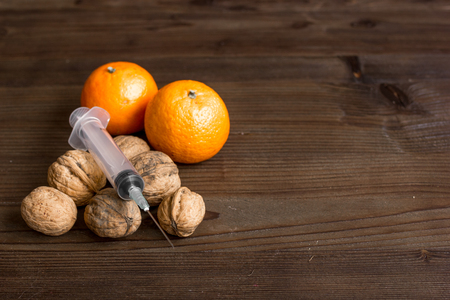food allergies: concept food allergies on wooden background close up Stock Photo