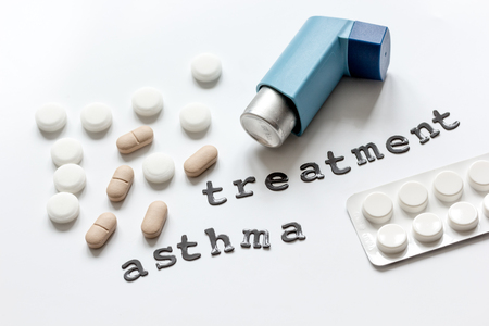 concept asthma and treatment on white background top view. Stock Photo