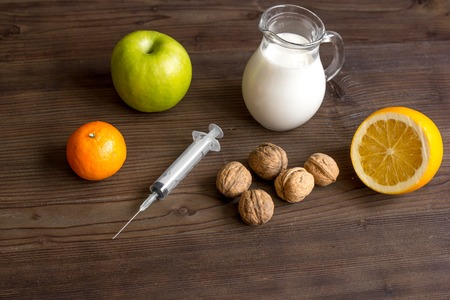 food allergies: concept food allergies on wooden background Stock Photo