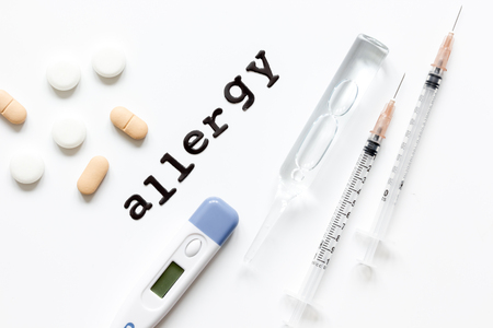 food allergies: concept food allergies on white background