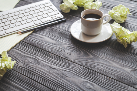 concept of writer desktop on wooden background top view mock up Stock Photo - 68854842