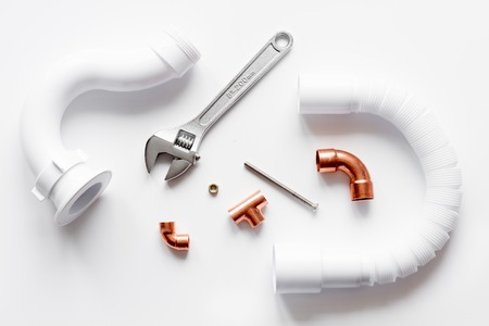 chrome: concept plumbing work top view on white background Stock Photo