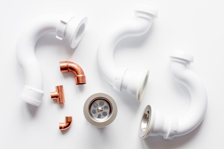 concept plumbing work top view on white background Stock Photo