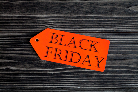 specials: concept black friday on dark wooden background top view Stock Photo