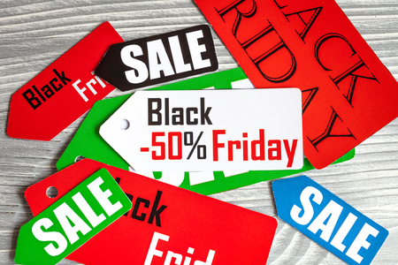 specials: concept black friday on wooden background top view Stock Photo