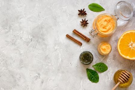 organic citrus scrub homemade on gray background top view Stock Photo