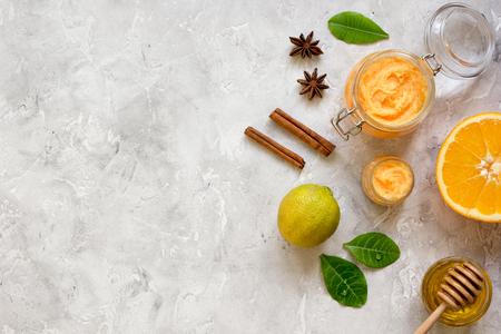 organic citrus scrub homemade on gray background top view. Stock Photo