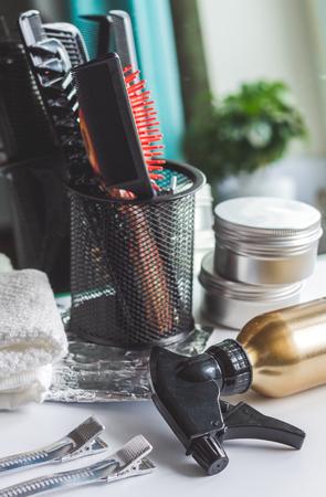 cutting hair: hairdresser working desk preparation for cutting hair