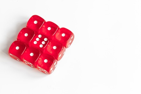 concept luck - dice gambling on white background