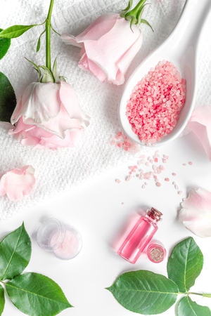 organic cosmetic with rose oil on white background top view Stock Photo