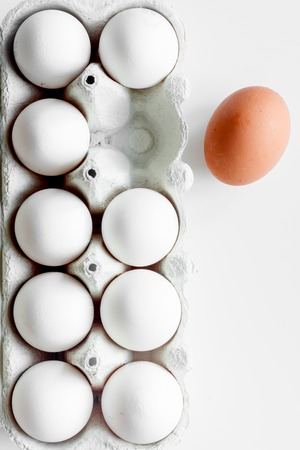 financial diversification: concept of correct choice eggs on white background top view