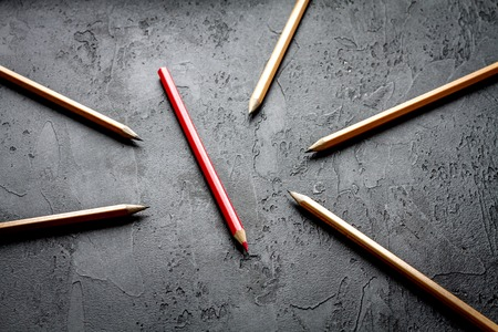 the view option: concept selection options with pencils on dark background top view