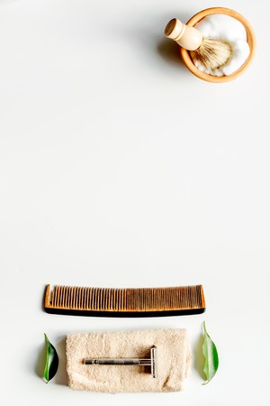 Mens hairdressing desktop with tools for shaving top view