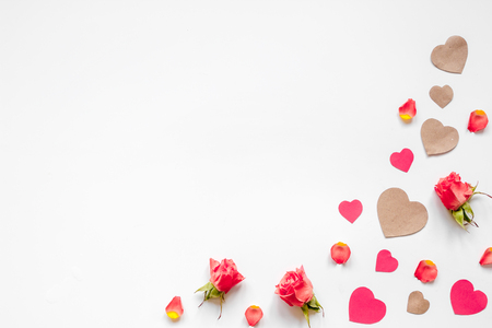 concept of Valentines Day with heart background mock up top view Stock Photo