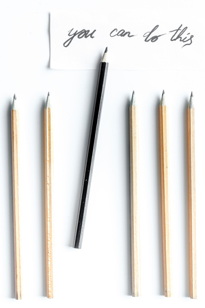 concept selection options with pencils on white background top view. Stock Photo