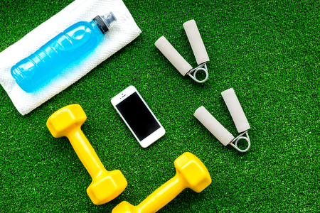 concept preparing to fitness sports equipment top view mock up Stock Photo