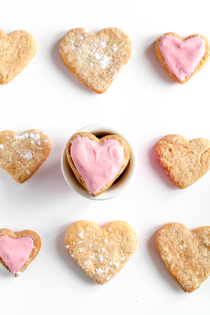 heartshaped: cookies for Valentine Day heartshaped on white background top view Stock Photo