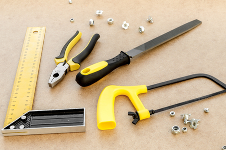 pasteboard: Tools for repairing top view on pasteboard background Stock Photo