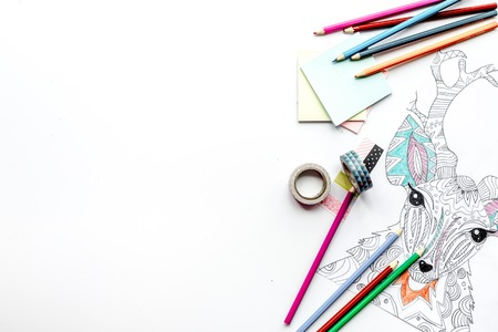 autocuidado: coloring picture for adults on white background top view mockup
