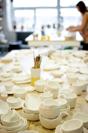 workshop production of ceramic tableware finished products