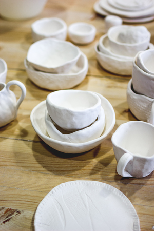 workshop production of ceramic tableware finished products.