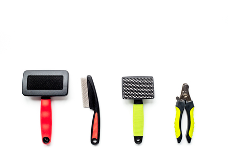 cat grooming: pet care and grooming tools on white background top view mock up Stock Photo