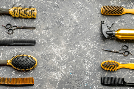 Tools for hairdress in barbershop on gray background top view mockup Stock Photo