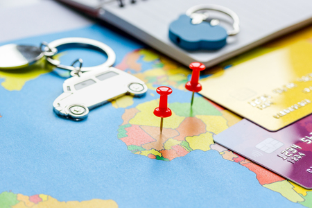Travel preparation and booking with credit cards on map Stock Photo