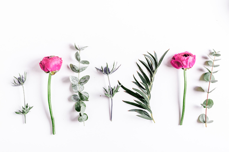 floral concept with pink flowers on white background top view mock-up