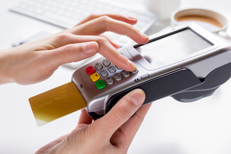 bankcard: Credit card payment for business lunch in cafe on white background
