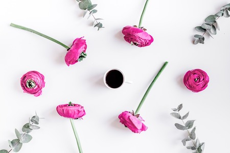 Floral pattern with bright flower on white background top view mockup Stock Photo