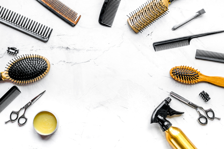 hairdresser working desk with tools on white background top view mock up