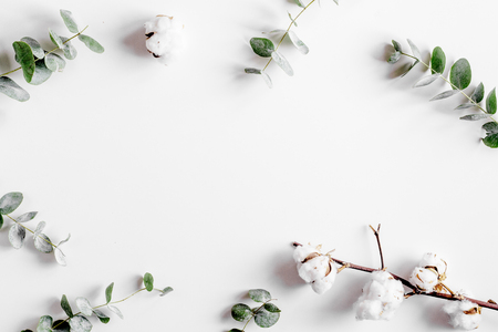 spring with morden green herbal mockup on white desk background top view Imagens - 75578008