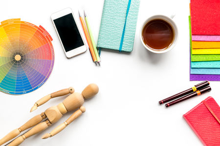 graphic tools, coffee and mobile in designer concept on white background top view mock up Stock Photo