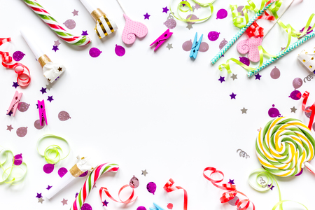 birthday party design with confetti top view space for text Foto de archivo
