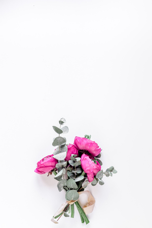 Trendy design with flower on white background top view mock up