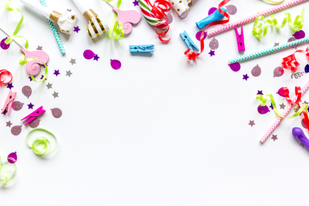 birthday party set with colorful confetti on white desk background top view mock up Stock Photo