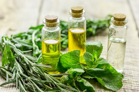 organic oil in bottle with rosemary and mint on light table background