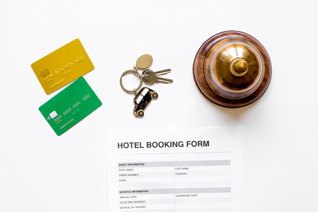 room reservation form on hotel reception desk background top view 版權商用圖片