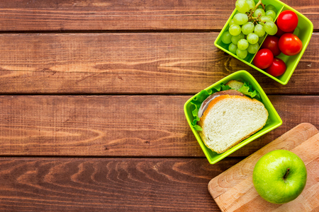 dinner table background. Healthy Food In Lunchbox For Dinner At School Wooden Table Background Top View Mockup Stock Photo A