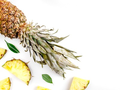 tropical fruits for summer design on white table background top view mock-up Archivio Fotografico