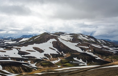 the icelandic flag: Landscape in the National Park, Haalda hill, Iceland Stock Photo