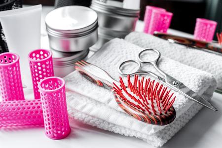 hairdresser working desk preparation for cutting hair close up